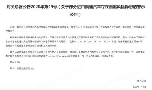 进口奥迪突发自燃 海关总署已发文暂停相关车型进口-企查查